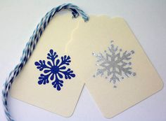 Snowflake Christmas Gift Tags, Set of 10 Hand Stamped Tags, Silver, Blue, Silver Snowflake, Holiday Gift Tag, Winter Wedding Favor Tags