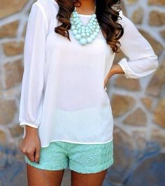Summer outfit, would need a short sleeve or tank, too hot during summer for long sleeves.  Love the shorts.