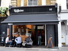Situated in the heart of Fitzrovia, Kaffeine is an independent, Aussie/Kiwi-run café located at 66 Great Titchfield Street, a short stroll north of Oxford Street. Small Coffee Shop, Coffee Shop Bar, Coffee Shops, Coffee Shop Interior Design, Coffee Shop Design, Cafe Design, Waffle Shop, Green Cafe, Street Coffee