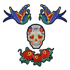 Most current Totally Free Embroidery Patches bird Style Hottest Images Embroidery Patches bird Thoughts Just practising light beer embroidery is definitely Embroidery Patches, Bird Embroidery, Nicotine Patch, Pinking Shears, Skull Head, Extra Fabric, Satin Stitch, Art Forms, Things That Bounce