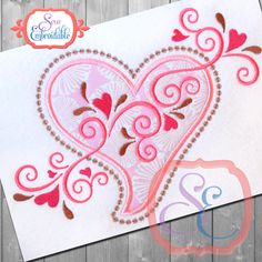 Applique Heart Swirls Design For Machine Embroidery INSTANT Download by SewEmbroidable on Etsy