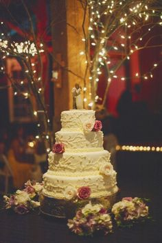 I love everything about this! The cake, the topper, the lights in the tree in the background!