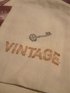 Hand Stamped Muslin Gift Bags  Vintage  by frenchcountry1908, $6.75