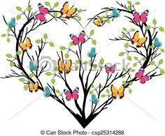Vector - corazón, mariposas, árbol - stock de ilustracion, ilustracion libre de, stock de iconos de clip art, logo, arte lineal, retrato de EPS, Retratos, gráficos, dibujos gráficos, dibujos, imágenes vectoriales, trabajo artístico, Arte Vectorial en EPS