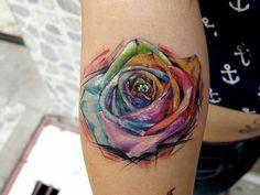 Watercolor rose tattoo                                                       …
