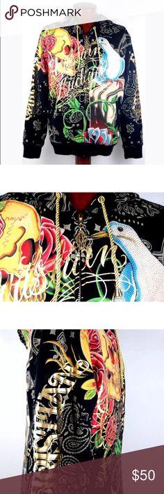Brand New Men's Christian Audigier Hoodie Jacket Brand New Men's Christian Audigier Hoodie Jacket Skull Dove Roses Black XL Christian Audigier Jackets & Coats
