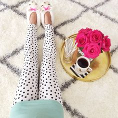 Polka dot leggings, sheep slippers, J.Crew mint perfect tee, gold tray, Kate…