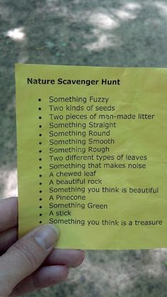 outdoor scavenger hunt. Would be cute to get the kids to do this.