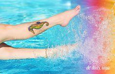 Tatuagem colorida de Cavalo Marinho - Desenho exclusivo criado por De duas, uma (www.deduasuma.com)
