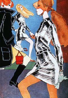 Fashion illustration by Antonio Lopez, 1967,  Emmanuelle Khanh ready-to-wear womenswear, French Elle.