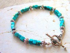 Genuine Turquoise Bracelet. Square Semi Precious by JensBeadBox, $24.00