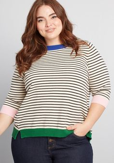 282a8fe666da ModCloth Well-Placed Pep Striped Sweater Ivory Multi  amp vert  ModCloth  Blue Sweaters
