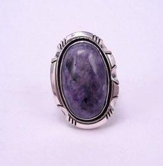 Native American Navajo Purple Charoite Silver Ring