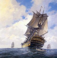 """HMS Bellona--'The Yellow Admiral'  A cutter leaves """"Bellona"""" as an officer looks on from deck"""