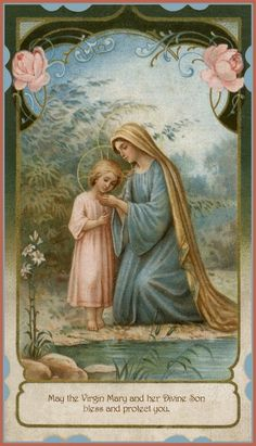 Blessed Virgin Mary and The Child Jesus Mother Of Christ, Blessed Mother Mary, Blessed Virgin Mary, Happy Mothers, Religious Pictures, Religious Icons, Religious Art, Vintage Holy Cards, Images Of Mary