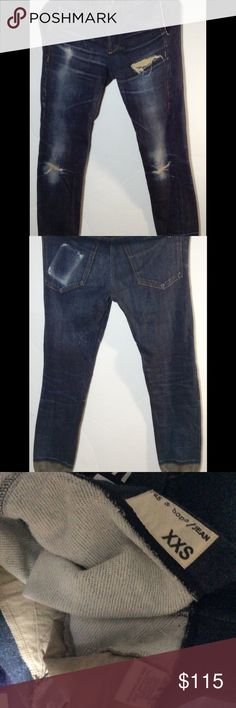 Rag & Bone pajama distressed jogger pants XXS Rag & Bone distressed jogger pajama denim look sweatpants, size XXS, pull on, very good condition. rag & bone Pants Track Pants & Joggers