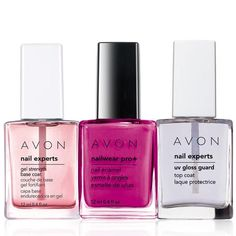 A $18.50 value, the collection includes: Nailwear Pro+ Nail Enamel, Nail Experts Gel Strength Base Coat, Nail Experts UV Gloss Guard Top Coat. Regularly $10.00, shop Avon Cosmetics online at http://eseagren.avonrepresentative.com