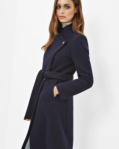 Long wrap wool coat - Navy | Jackets & Coats | Ted Baker