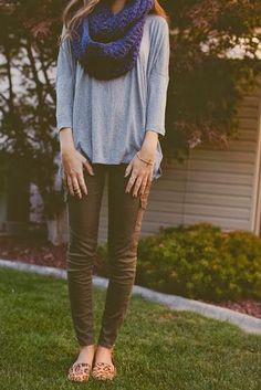 Women's Fashion navy blue infinity scarf + gray tee + army green pants + cheetah print shoes