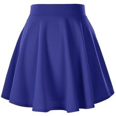 Women's Basic Solid Versatile Stretchy Flared Casual Mini Skater Skirt ($8.95) ❤ liked on Polyvore featuring skirts, mini skirts, blue skirts, mini circle skirt, stretch skirt, flare skirt and blue flared skirt