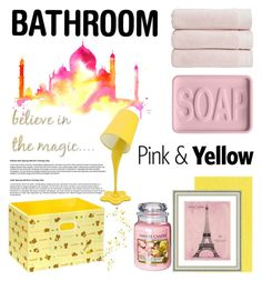 """""""#36 Pink & Yellow Bathroom: 30/08/15"""" by pinky-chocolatte ❤ liked on Polyvore featuring interior, interiors, interior design, home, home decor, interior decorating, Dot & Bo, Christy, Yankee Candle and LumiSource"""