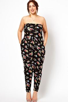 11 Plus-Size Jumpsuits That Are Easily Your Favorite Go-Tos #refinery29  http://www.refinery29.com/plus-size-jumpsuits#slide-1  ASOS Curve Bandeau Jumpsuit In Floral Print, $50.91, available at ASOS, up to size 24. ...