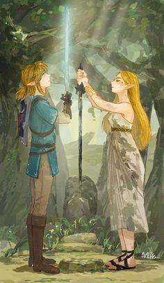 Legend of Zelda Breath of the Wild art > Link and Princess Zelda > The Master Sword > botw The Legend Of Zelda, Legend Of Zelda Memes, Legend Of Zelda Breath, Sheikah Zelda, League Of Legends, Image Zelda, Zelda Video Games, Botw Zelda, Master Sword