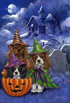 Cavalier King Charles Spaniel Halloween Garden Flag by Canine Designs by Suzanne Renaud, http://www.amazon.com/dp/B003H1DOG6/ref=cm_sw_r_pi_dp_xPt1pb1B3ZCN8