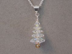 Christmas Necklace Swarovski Crystal AB CHRISTMAS TREE Necklace Choice Silver or Gold Christmas Jewelry by Magicclosetbling on Etsy