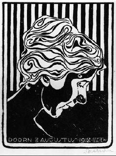 M.C. Escher – Fiet van Stolk. 1918 Linoleum cut. 108mm x 146mm.