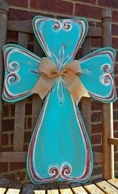 Painted wooden Cross Door Hanger with ribbon Painted Wooden Crosses, Wood Crosses, Painted Doors, Mosaic Crosses, Crosses Decor, Wooden Doors, Wooden Signs, Cross Door Hangers, Burlap Door Hangers