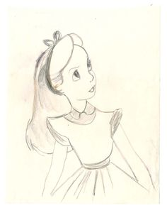 Vintage Disney Alice in Wonderland: Alice Character Study Sketch