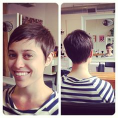 Pretty much my idea of the perfect haircut - stylish, but short enough to not take long to fix. Also love the color.