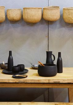 """I like the baskets on the wall. """"Dadassi"""" vessels : clay design by Nelson Sepulveda / for Belart Industries Interior And Exterior, Interior Design, Collections Of Objects, Kitchenware, Tableware, Clay Design, Home And Deco, Ceramic Pottery, Glass Ceramic"""