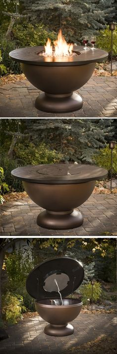 Exceptionnel The Lid On This Fire Pit Easily Opens For Quick Propane Tank Access; And  With