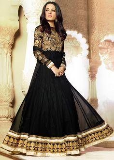Celina Jaitley Black Georgette Abaya Style Salwar Kameez Online Shopping : 507SL08