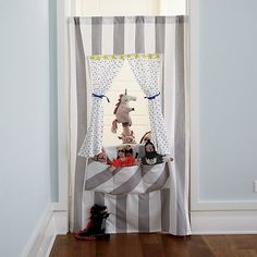 Shop Off Broadway Doorway Puppet Theater. Create a puppet show anywhere in your home with the help of our Off Broadway Puppet Theater. Its easy to set up and has plenty of pockets to hold hand puppets. Fun Places For Kids, Medieval Dragon, Medieval Knight, Waterproof Cushions, Land Of Nod, Puppet Show, Hand Puppets, Toddler Gifts, Toddler Play