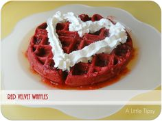 Red Velvet Waffles Recipe. Perfect for Valentine's Day breakfast or dessert. Both recipes are given. The breakfast recipe uses part biscuit mixed with the cake batter.