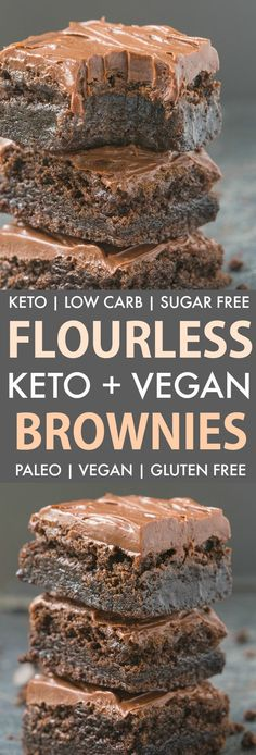 These Easy Flourless Fudge Brownies are gooey and low carb, you won't believe th.These Easy Flourless Fudge Brownies are gooey and low carb, you won't believe they are keto and vegan! Made with no eggs and no sugar, they are guilt-free and delicio Brownies Cétoniques, Brownies Caramel, Sugar Free Brownies, Sugar Free Fudge, Cheesecake Brownies, Chocolate Cheesecake, Low Carb Desserts, Low Carb Recipes, Vegetarian Recipes