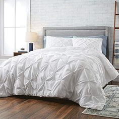 HNU 3 Piece Pintuck Comforter Set King, White Bedding Bed Comforter Set, Print Modern Elegant Contemporary Textured Reverses to Solid Background Decorative Soft Cozy Comfy All Seasons Cotton