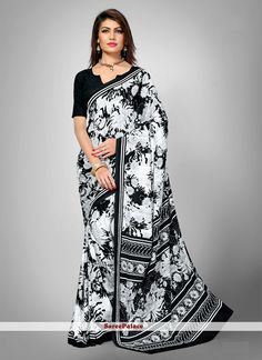 Beguiling Faux Crepe Black and Off White Casual Saree
