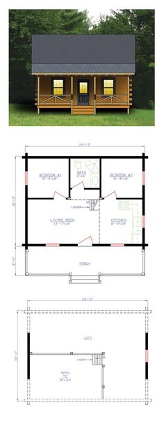 16 x 24 floor plan adirondack cabin plans 16 39 x24 39 with for Log cabin floor plans with loft