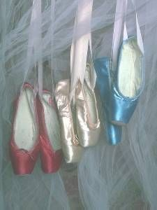 colored Pointe shoes and tulle...