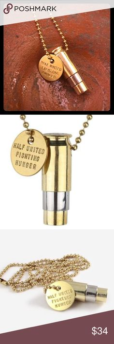 """Fighting Hunger Necklace Gold & Silver  unisex The """"Fighting Hunger"""" bullet necklaces represent your fight against global hunger using ethical fashion. We've taken something that is usually seen as a symbol of harm, and turned it into a positive symbol of hope. We're repurposing bullets for good! For every HALF UNITED product you purchase, YOU provide 7 meals for a child in need!   gold plated top and bottom, silver plated middle 30"""" gold ball chain gold plated charm that reads """"HALF UNITED…"""