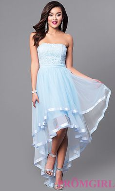 Image of strapless high-low prom dress with lace bodice. Style: LP-24034 Front Image
