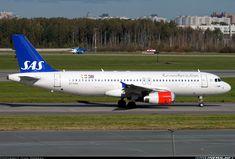 Scandinavian Airlines System (SAS) Airbus A320-200 taxiing at Saint Petersburg (Leningrad)-Pulkovo International Airport (LED/ULLI), Russian Federation, September 19, 2016.