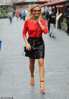 Turns heads: Amanda Holden caught the eye in a striking red outfit as she left the studios. Leather Mini Skirts, Leather Skirt, Britain's Got Talent, Red Stilettos, Tv Girls, Amanda Holden, Holly Willoughby, Sexy Older Women, Cindy Crawford