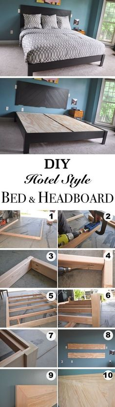 DIY Hotel Style Bed Frame and Headboard