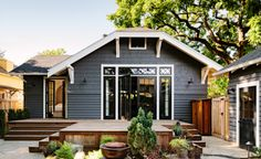 love these exterior colors (cladding, windows and deck) - also interior remodel
