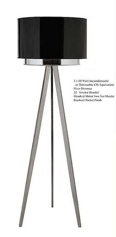 4691 TRIPOD FLOOR LAMP  The tripod legs of this floor lamp are unique and fun! Featuring a two tier shade and a black nickel finish, it radiates brightly and looks fabulous no matter where you place it. Buy it now for a ultra-chic, contemporary touch to your home.  3 x 60 Watt Floor Dimmer, Black Shade/Shaded Mirror, Two Tier Shade, Brushed Nickel Finish  68 in (Height) 22 in (Width)